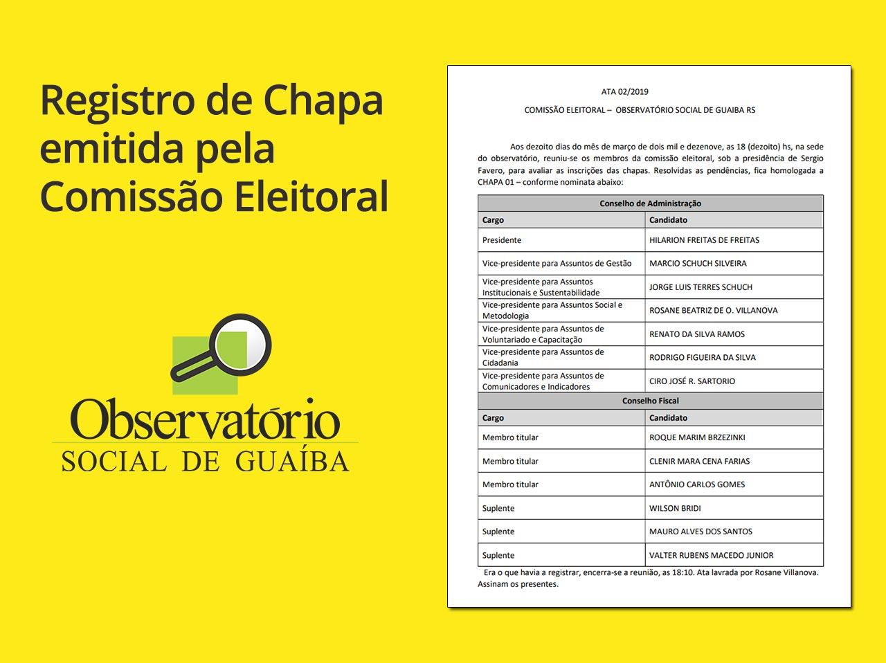 Registro de Chapa emitida pela Comissão Eleitoral